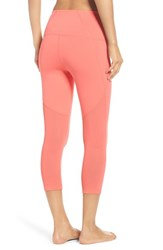 Zella Women's 'Live In Sultry' High Waist Mesh Crop Leggings Coral Poppy