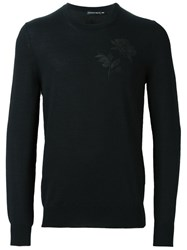 Alexander Mcqueen Floral Embroidered Jumper Black