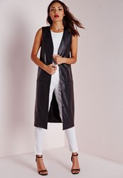 Missguided Longline Sleeveless Jacket In Faux Leather Black