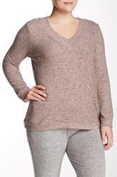 Harlowe And Graham V Neck Soft Pullover Sweater Plus Size Brown