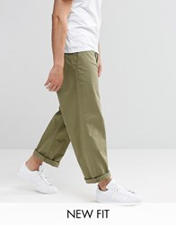 Asos Wide Leg Chinos In Light Khaki Burnt Olive Green