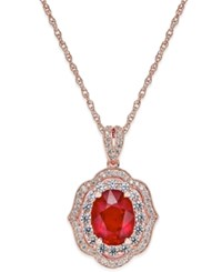 Macy's Ruby 2 1 10 Ct. T.W. And Diamond 1 2 Ct. T.W. Scalloped Edge Pendant Necklace In 14K Rose Gold