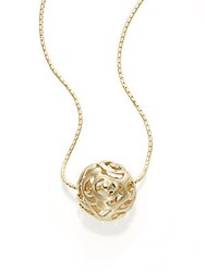 Saks Fifth Avenue 14K Yellow Gold Pierced Dome Pendant Necklace