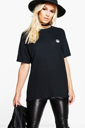Boohoo Heidi Peace Sign Tee Black