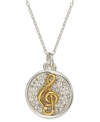 Macy's Inspirational 14K Gold Over Sterling Silver And Sterling Silver Necklace Crystal Treble Clef Inspirational Pendant