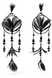 Valentino Ruthenium Tone Crystal Bead And Feather Earrings