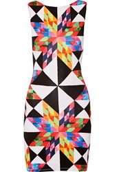 Mara Hoffman Cutout Printed Stretch Modal Jersey Mini Dress Bright Pink Yellow