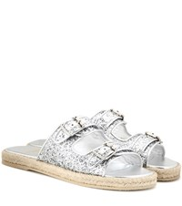 Saint Laurent Glitter Embellished Sandals Silver