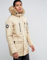 Good For Nothing Parka With Faux Fur Hood Beige