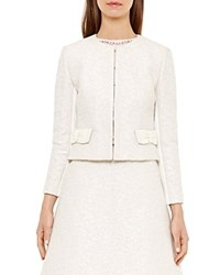 Ted Baker Leysa Boucle Bow Jacket Cream