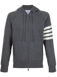 Thom Browne Knitted Zip Hoodie Grey