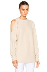 Tibi Cut Out Shoulder Sweater In Neutrals