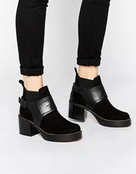 Tba To Be Announced Noel Platform Heeled Ankle Boots Blacksuedeleather