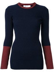 Victoria Beckham Two Tone Ribbed Jumper Blue
