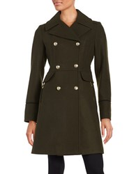 Vince Camuto Double Breasted Wool Blend Coat Olive