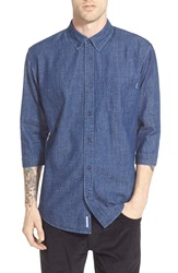 Publish Brand 'Daner' Trim Fit Three Quarter Sleeve Denim Shirt Indigo