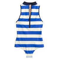 J.Crew High Neck Zip Front One Piece Swimsuit In Rugby Stripe Bright Grotto Scuro