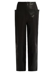 Tibi High Waisted Leather Trousers Black