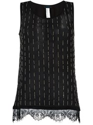 Twin Set Lace Hem Tank Top Black
