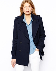 Mango Navy Lightweight Military Coat Blue