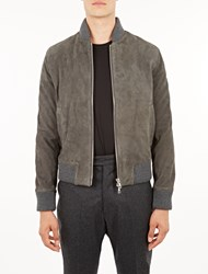 Officine Generale Grey Suede Lucien Bomber Jacket