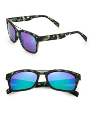 Italia Independent I Gum Camouflage 52Mm Round Sunglasses Green Multi