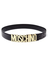 Moschino Logo Plaque Belt Black