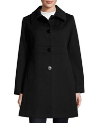 Fleurette Empire Waist Wool Blend Coat Black