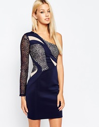 Lipsy One Shoulder Illusion Dress With Lace Detail Teal