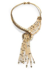 Erickson Beamon Stratosphere Crystal And Faux Pearl Statement Tassel Necklace Gold Crystal