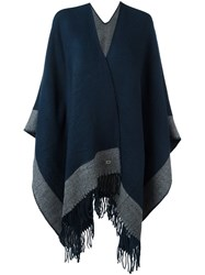 Twin Set Fringed Cape Blue