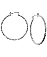 Jones New York Medium Hammered Hoop Earrings Silver