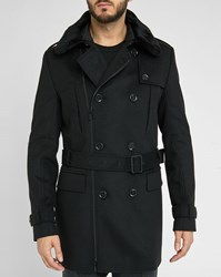 Hugo Hugo Boss Black Removable Fur Collar Buttons Zips Wool Coat