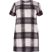 River Island Womens Plus Pink Check Oversized T Shirt