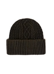 Topman Black Cable Knit Beanie