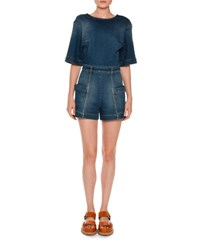 Stella Mccartney Half Sleeve Denim Romper