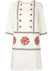 Suno Embroidered Shift Dress Blue