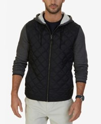 Nautica Men's Fleece Quilted Hoodie Charcoal Grey