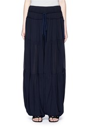Chloe Drawstring Wide Leg Crepe Harem Pants Black