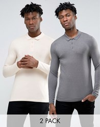 Asos Extreme Muscle Long Sleeve Polo 2 Pack Off White Grey Multi