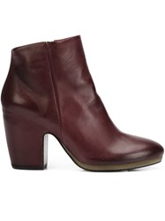 Vic Matie Chunky Heel Ankle Boots Red