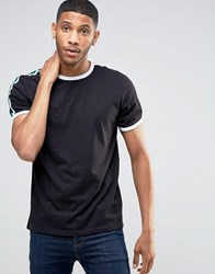 New Look Ringer T Shirt In Black With Tape Detail Black
