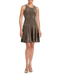 Ivanka Trump Faux Suede Flared Dress Heather Taupe