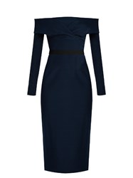 Emilio De La Morena Oili Off The Shoulder Stretch Silk Midi Dress Navy