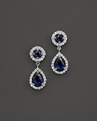 Bloomingdale's Sapphire And Diamond Teardrop Earrings In 14K White Gold Multi