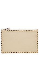Valentino Rockstud Leather Clutch Beige