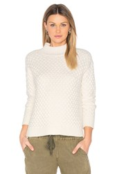 1.State Honeycomb Turtleneck Sweater White
