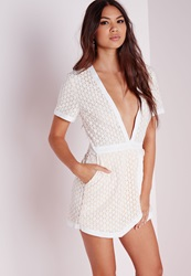 Missguided Triangle Lace Skort Playsuit Nude Beige