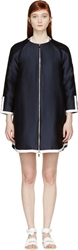 Moncler Gamme Rouge Navy And White Twill Down Coat