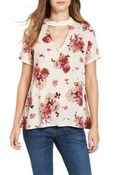 Lush Women's Floral Print Cutout Swing Tee Ivory Burgundy Floral Print